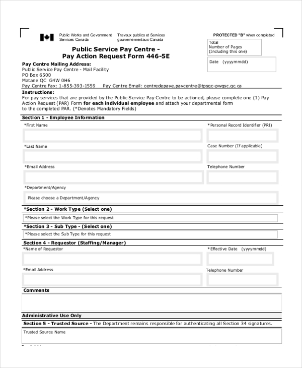 pay action request form