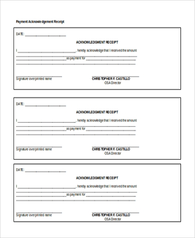 Sample Payment Receipt Form   Free Documents In Doc Pdf