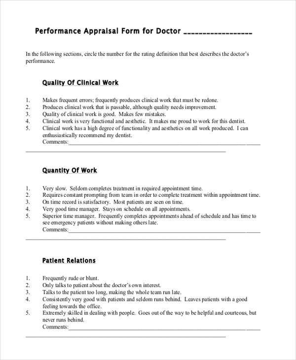 Sample Performance Appraisal Forms  Free Sample Example Format