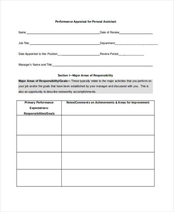 Staff Appraisal Form Template 31 Appraisal Letters Free Sample – Appraisal Document Template