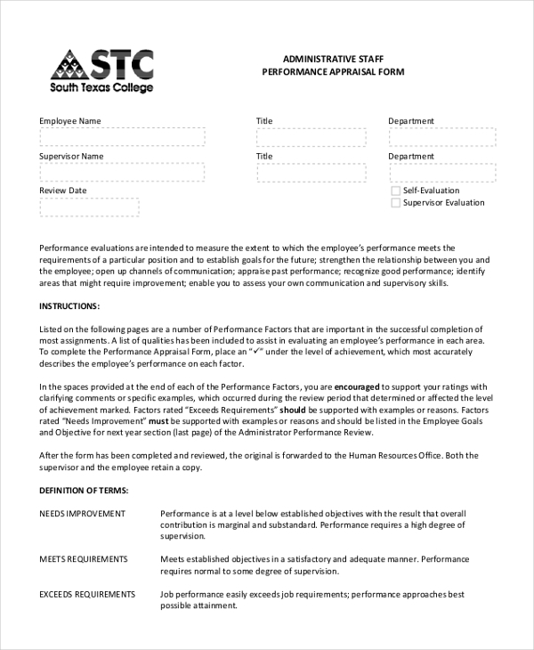 Performance Appraisal Form For Administrative Staff  Format Of Performance Appraisal Form
