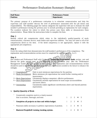 Performance Evaluation Samples   Free Documents In Pdf Doc