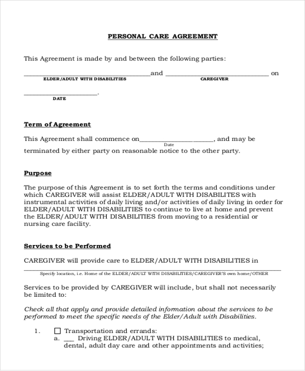 Sample Personal Agreement Forms  Free Sample Example Format