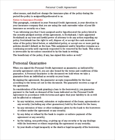 Sample Personal Loan Agreement   Free Documents In Pdf Doc