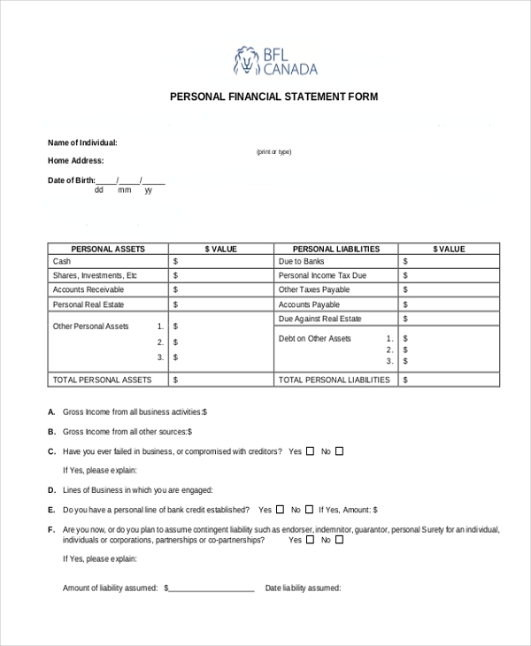 Sample Personal Financial Statement Form 7 Free Documents in – Sample Personal Financial Statement Form