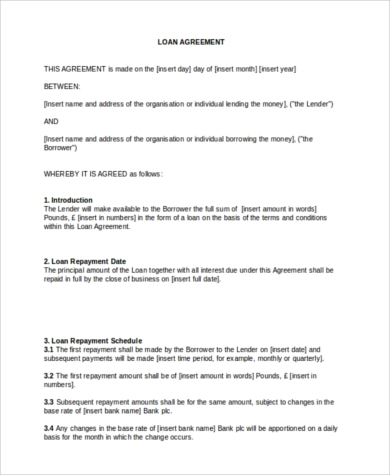 Personal Loan Agreement Form In Word Format  Personal Loan Template Word