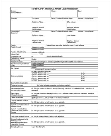 personal loan agreement letter