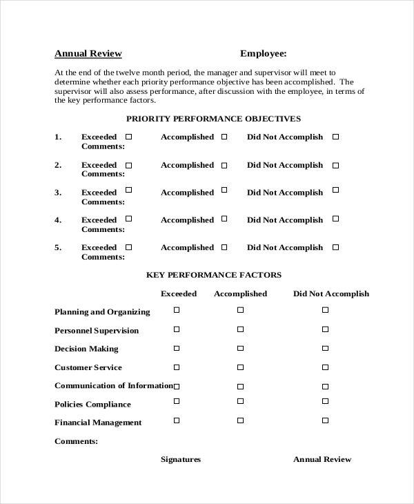 personal performance appraisal form