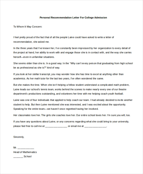 Sample Personal Recommendation Letter   Free Documents In Pdf Doc