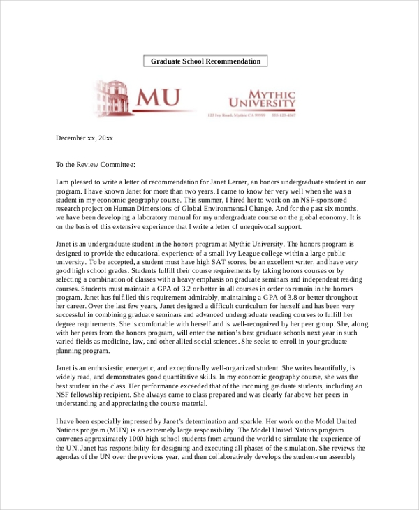 personal recommendation letter for graduate school