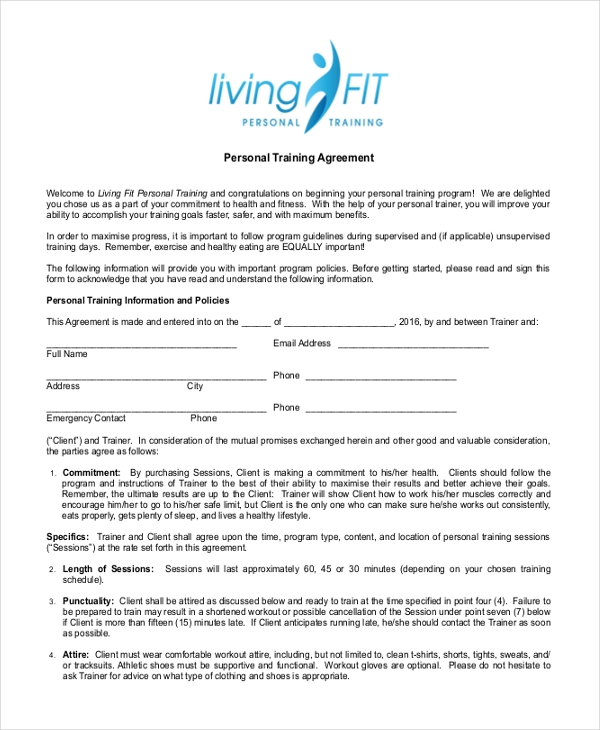 10 sample personal agreement forms free sample example format free personal training agreement form thecheapjerseys Gallery