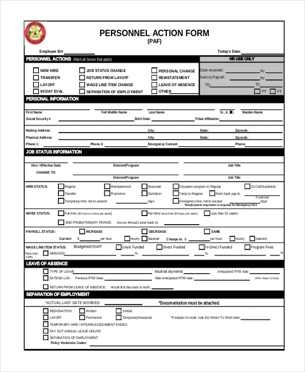 personnel action form