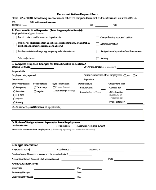 personnel action request form
