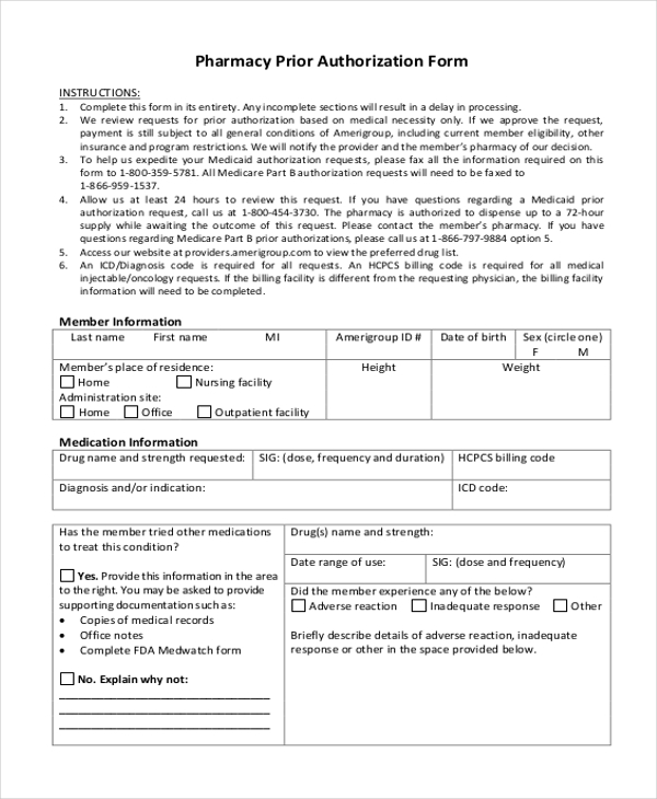 Sample Prior Authorization Form - 8+ Free Documents In Pdf