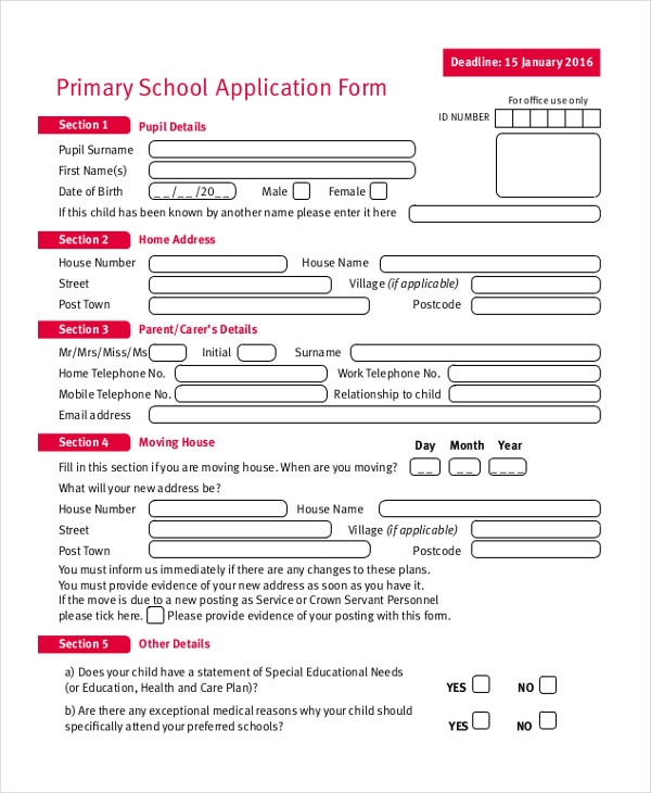 Sample School Application Form   Free Documents In Pdf