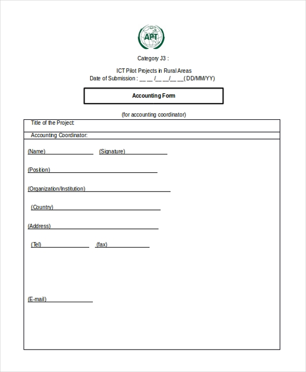 Printable Accounting Forms. Blank Accounting Form Sample