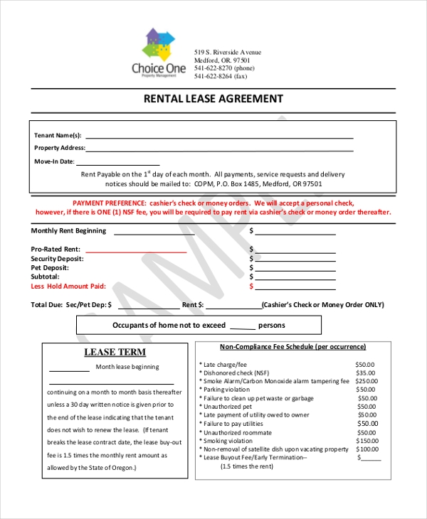 Printable Blank Rental Lease Agreement Form Example  Blank Rental Lease