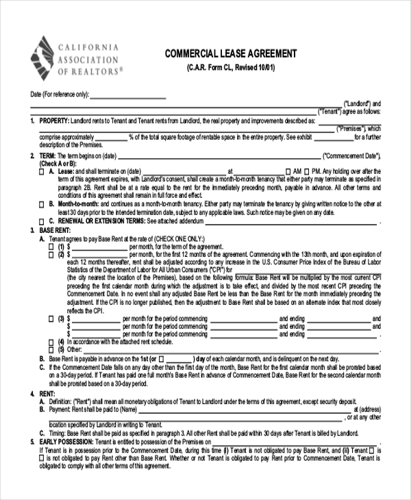 free 9  sample printable lease agreement forms in pdf