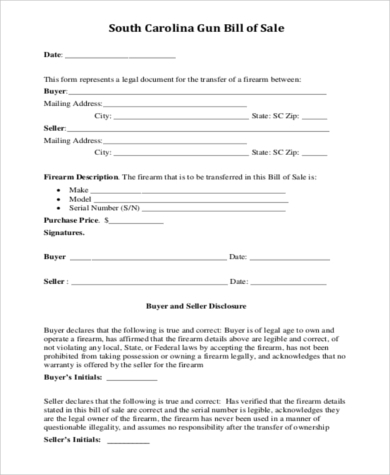 Sample Firearms Bill Of Sale Form   Free Documents In Pdf