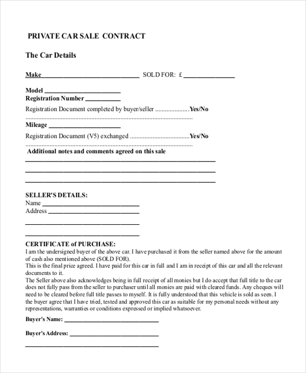 Free Private Car Sale Contract Form