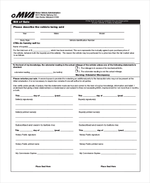 Sample Bill Of Sale Auto Form   Free Documents In