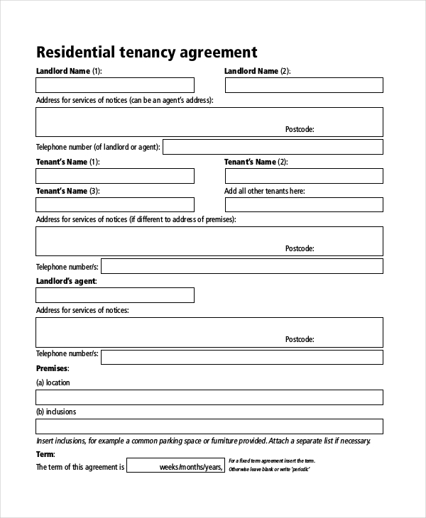 Sample Rent Agreement Form   Free Documents In Pdf Doc