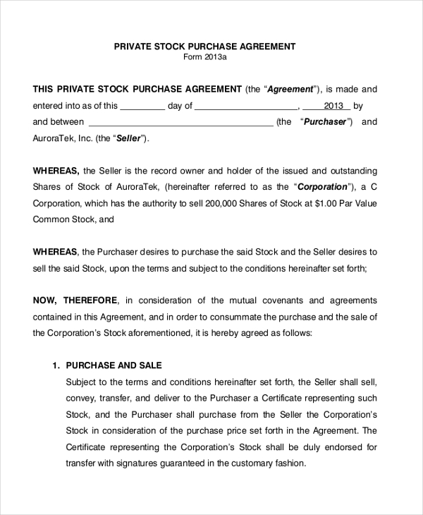 Sample Purchase Agreement Form 7 Free Documents in PDF – Sample Stock Purchase Agreement