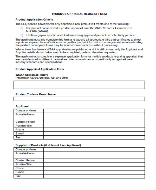 request sample product  10  Sample Appraisal Request Forms - Free Sample, Example, Format