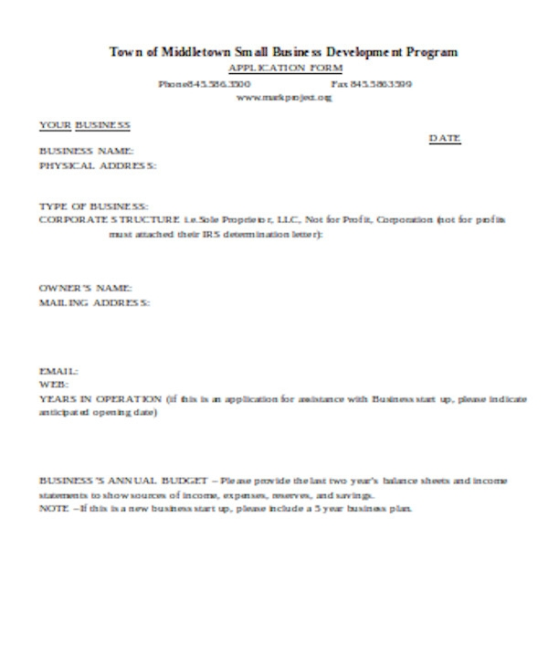professional business application form