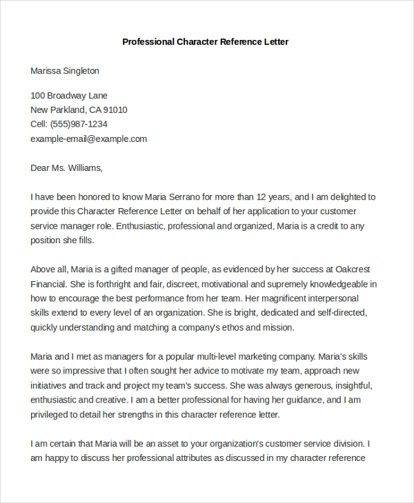 Good Professional Character Reference Letter