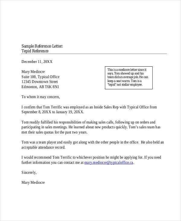 Professional Reference Letter Template Word from images.sampleforms.com
