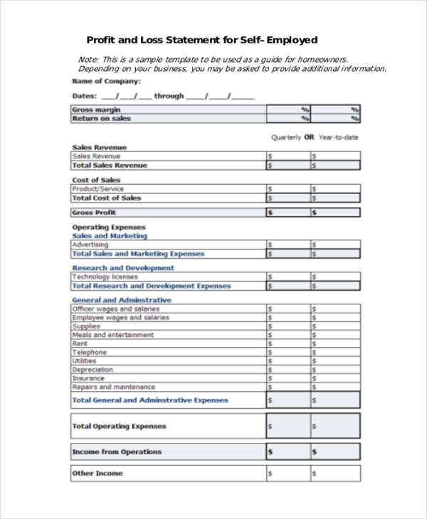 Monthly Profit And Loss Statement Template Free Download. Personal Income  Statement Form Newhairstylesformen2014 ...  Blank Profit And Loss Statement Form