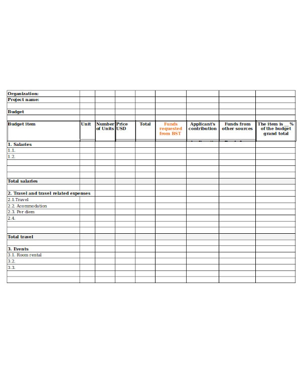 project budget form sample