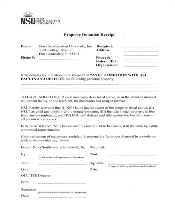 property donation receipt