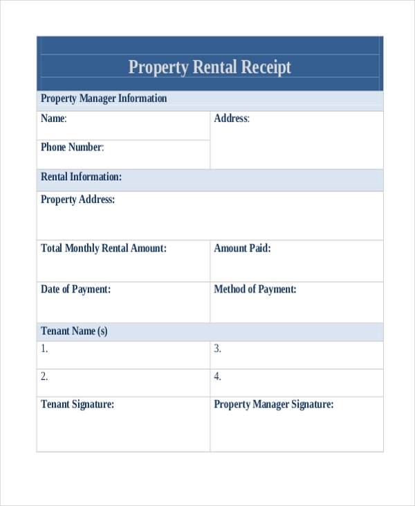 sample rental receipt form