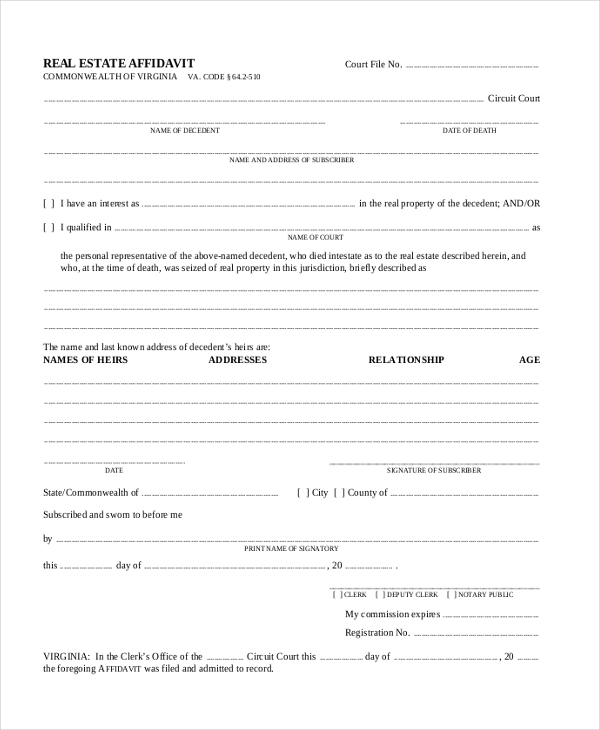 real estate affidavit form