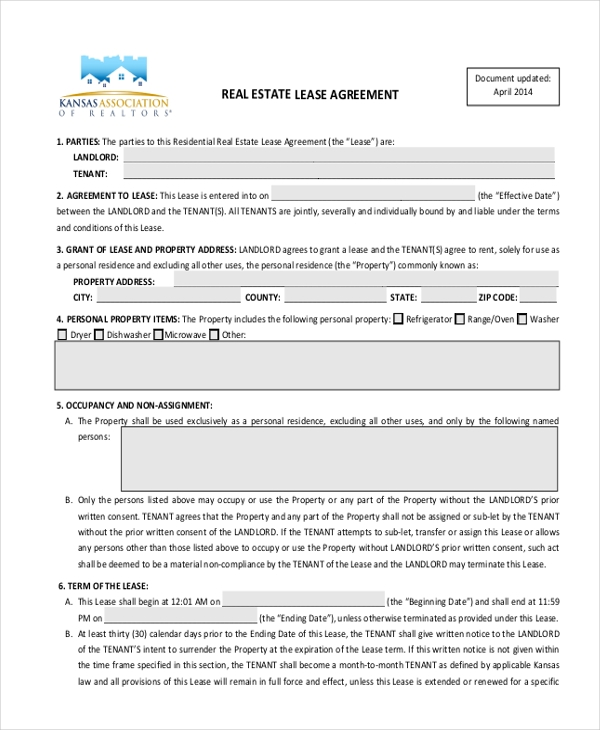 real estate lease agreement