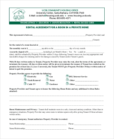 Rental Agreement Form For A Room In A Private Home
