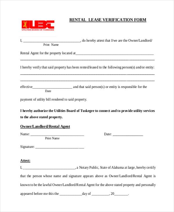 Rental Lease Verification Form