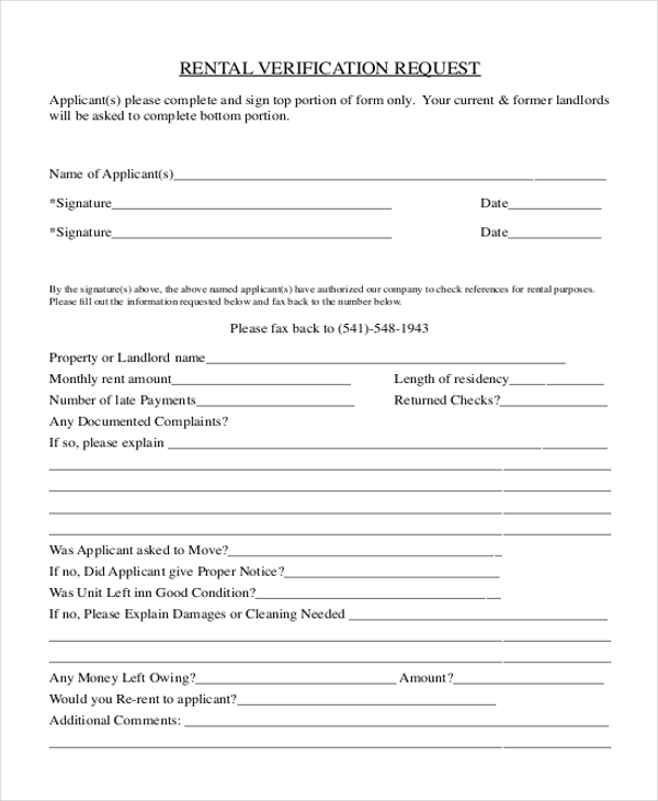 Sample rental verification form 9 free documents in pdf for Rental verification letter template