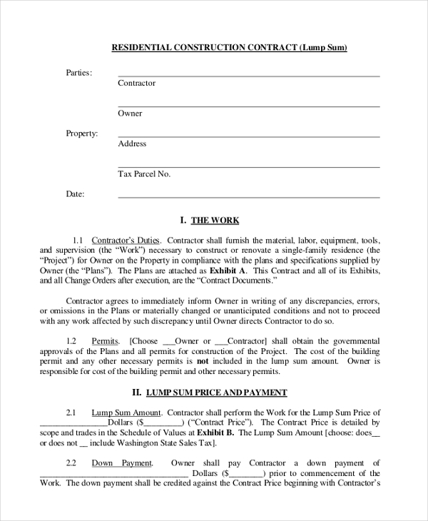 Sample Construction Contract Form 10 Free Documents In Pdf