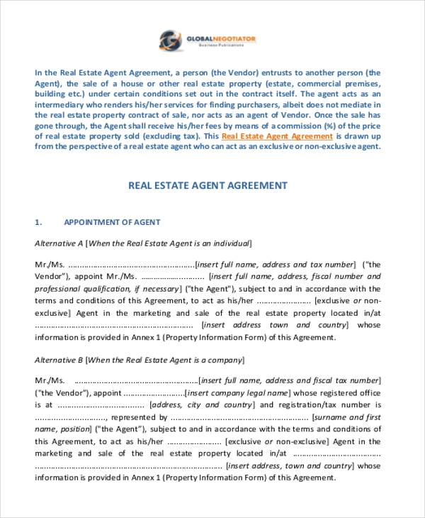 real estate agent agreement form