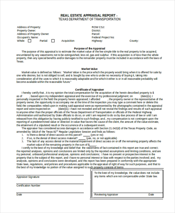 real estate appraisal form example