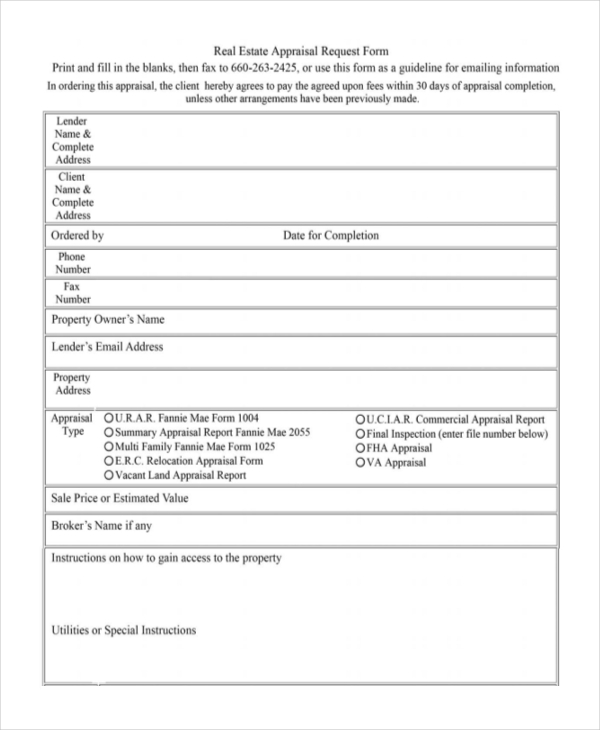 Appraisal Order Form Sample Real Estate Appraisal Request Form