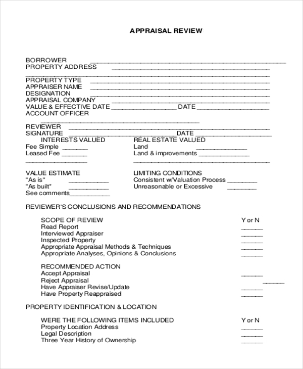 Sample Real Estate Appraisal Form 7 Free Documents in Doc PDF – Appraisal Review Form