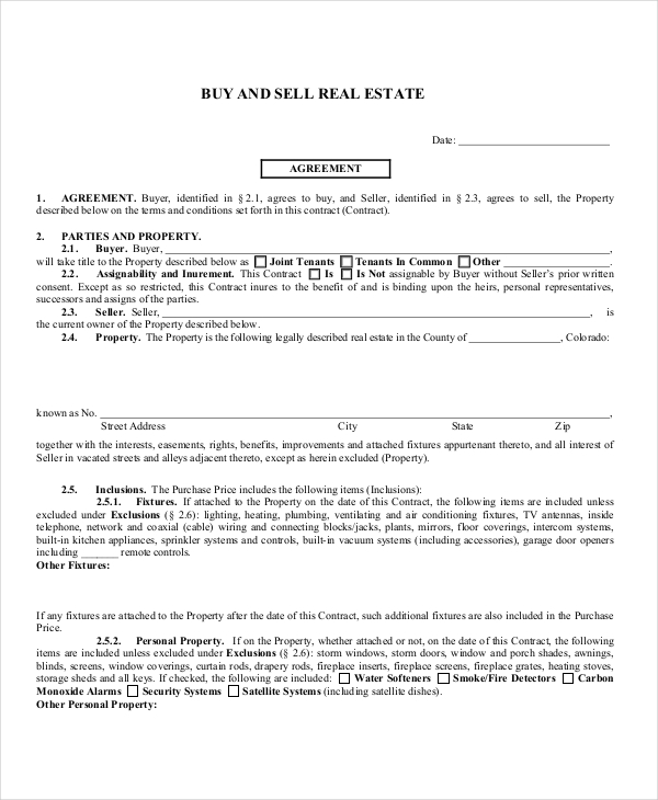 Sample Real Estate Agreement Form - 8+ Free Documents In Pdf
