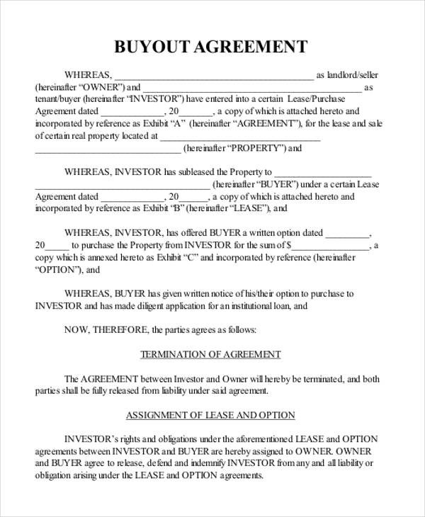 Sample real estate agreement form 8 free documents in pdf for Shareholder buyout agreement template