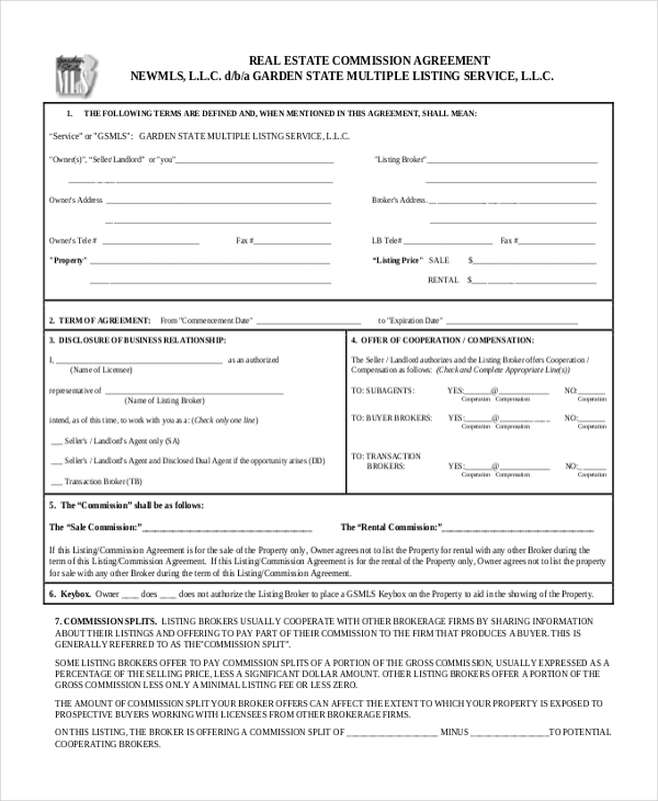 Real estate buyout agreement form annual statement of for Commission only contract template