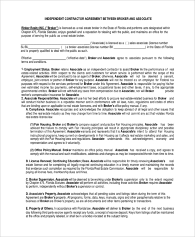 real estate independent contractor agreement form