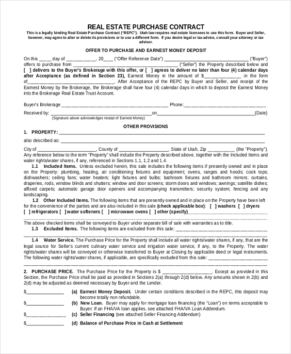 real estate purchase agreement form